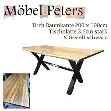Esstisch Tisch 200x100cm Akazie massiv X Gestell schwarz Sofort Lieferbar NEU