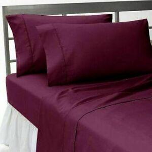 Wine Solid Split Corner Bed Skirt Choose Drop Length US Size 800 Count
