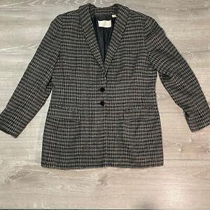 Dana Buchman Blazer Jacket Wool Blend Tweed Black White Two Button 14 Pre Owned