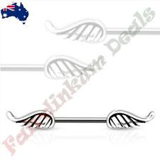 316L Surgical Steel Silver Ion Plated Nipple Bar Ring with Angel Wing Ends