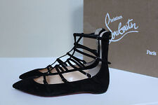 New sz 7 / 37.5 Christian Louboutin Toerless Muse Black Suede Cage Flat Shoes
