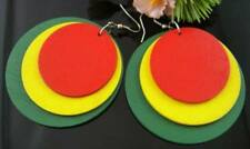 GORGEOUS unique RASTA colour circle hoop TRIBAL AFRICA dangle drop hook earrings