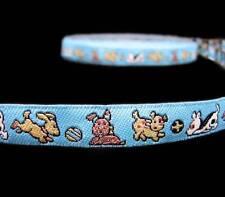 "2 Yds Dogs Puppy Blue Woven Jacquard Collar Leash Trim Ribbon 1/2""W"