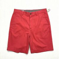 Essentials men's classic fit flat front washed red shorts NEW size 32 waist 100%