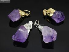 Natural Amethyst Gemstone Reiki Chakra Pointed Pendant Charms Silver Gold Plated
