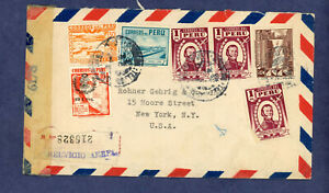 Peru 1944 Censored Cover From Lima to New York, Air Mail and Registered