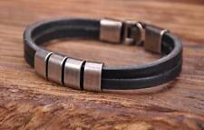 G117 Black Cool Metal Clasp Surfer Leather Mens Wristband Bracelet Cuff New