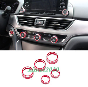 For Honda Accord 2018-2020 Red Air Condition Switch Knob Decor Ring Cover Trim