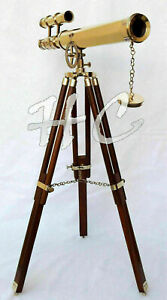 "Nautical 18"" Brass Marine Double Barrel Telescope Navy With Wooden Tripod Gift"