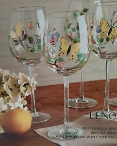 LENOX - Butterfly Meadow Set of 8 Hand-Painted Wine Glasses - In original box