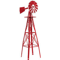 4ft. Ornamental Decorative Garden Yard Windmill Weather Vane- Red w/ White Tips