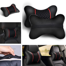 2Pcs Leather Travel Car Rest Cushion Seat Headrest Neck Pillow For Cadillac Ford