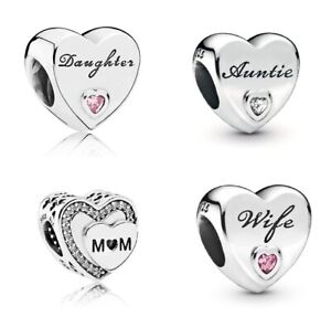 NEW GENUINE SILVER PANDORA MOMENTS DAUGHTER WIFE AUNTIE MUM CHARMS S925 ALE