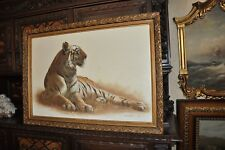 Lovely Large   Vintage Tiger  Painting  on Canvas