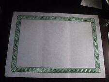 25 pcs PAPER PLACEMATS WHITE GREEN GREEK KEY BORDER DINER KITSCH CRAFTS picnic