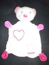 doudou plat ours blanc rose coeur BABYFEHN babysun