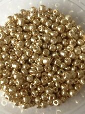 50g glass seed beads - Gold Metallic - approx 4mm (size 6/0)