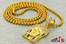 14k Gold Plated Simulated Diamond Jesus Piece Small Micro Chain Set Iced Hip Hop