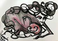ORIGINAL Malerei PAINTING erotic EROTIK akt nu art schwarz Hexe dark gothic Hexe
