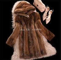 Vogue Pelzmantel Damen Modern Kapuze Abendlich Mantel Jacket Lange In Braun NEUE