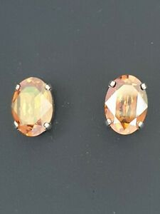 Gorgeous Oval Stud Earrings Made  with Swarovski Crystal Copper. Made in UK