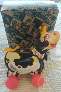 Fisher Price #6599 Molly Bell Cow 1992 Toy Fest Replica Vintage Pull Toy Wood