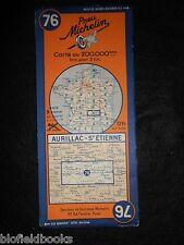 VINTAGE 1936 francese MICHELIN mappa: Aurillac St Etienne (Millefoglie 76/carte Francia)