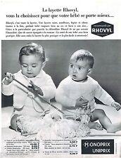PUBLICITE ADVERTISING 105  1966   MONOPRIX   layette bébé RHOVYL
