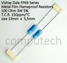 2 pezzi Resistenza a strato metallico 100 Ohm, 100R 3W 5% Vishay Dale FP69 serie