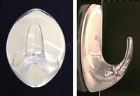 Clear Self Adhesive Stick on Hook Multi Purpose Large Hanger Hooks Round Oval x2