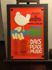"""WOODSTOCK ORIGINAL VINTAGE 1969 CONCERT POSTER 36""""x24"""" SIGNED AUTOGRAPHED ARTIST"""