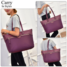 Laptop Tote Bag Womens Leather 15.6 Shoulder Briefcase Women Carrying Purple New