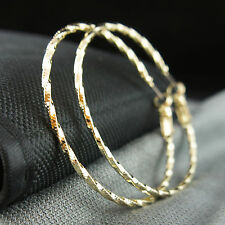 14k Gold plated large hoop twisted beautiful earrings