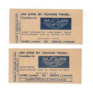Air France: April 1937 and October 1937 airmail label booklets (2)
