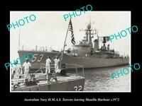 OLD POSTCARD SIZE AUSTRALIAN NAVY PHOTO OF THE HMAS TORRENS SHIP c1972