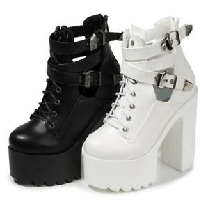 Womens Block High Heel Platform Shoes Nightclub Fashion Party 15cm Ankle Boots L