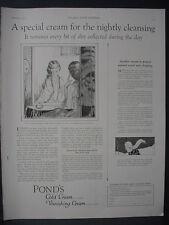 1922 Pond's Cold Cream Vanishing Cream Skin Cleaning Care Vintage Print Ad 12095