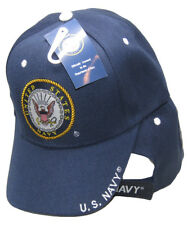 United States Navy Emblem US Navy On Bill Navy Blue With Shadow Embroidered Cap
