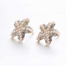 Modeschmuck Ohrringe Ohrstecker See Stern Star  Strass Perlen Gold Style