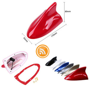 Universal Fit Red Car Shark Fin FM/AM Radio Signal Antenna Auto Roof Aerial