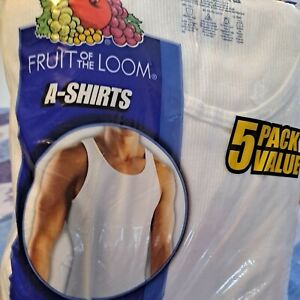 Fruit of the Loom 5 pack A-shirts -100% cotton-white Size XL Mens Ribbed Muscle