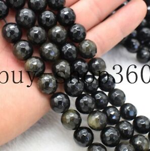 New Natural Faceted 12mm Gold Obsidian Round Gemstone Loose Beads 15''