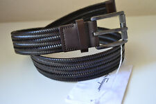 Salvatore Ferragamo Braided Leather Rectangular Buckle Belt New  Size 32 Brown