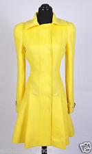 New VERSACE Yellow Wool Flared Coat
