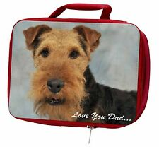 More details for welsh terrier dog 'love you dad' insulated red school lunch box/picn, dad-136lbr