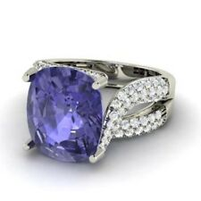 5.00Ct Solitaire with Accents Natural Gemstone Tanzanite Ring 14K White Gold
