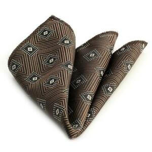 Celino Brown/Black Diamonds Pocket Square for Men Silk Handkerchief for Suits