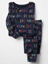 "GAP Baby Girls Size 6-12 Months Blue ""Let It Snow"" Christmas Pajama PJ Set"