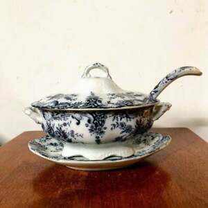 Antique Baker & Co. Ltd. Flora Flow Blue Tureen, Underplate, and Ladle