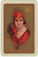 Playing Cards Single Card Old BARRIBAL Art Painting GIRL LADY Advertising RARE
